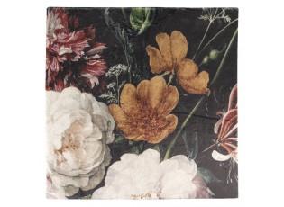 Černý chlupatý pléd /přehoz s květy - 130*170 cm