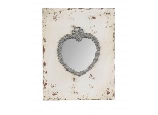 Vintage zrcadlo se srdcem a kamínky - 23*2*30 cm