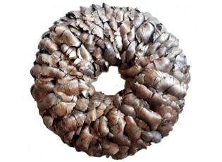 Hnědý věnec z palmových listů se zlatou patinou - Ø 45cm