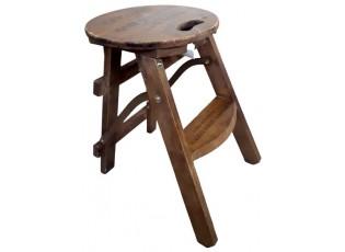 Hnědá skládací stolička s jedním schůdkem - 33*40*44 cm