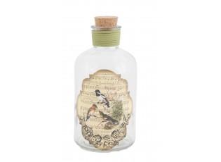 Okrasná lahvička s ptáčky a víčkem - Ø 16*27 cm
