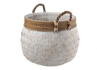 Bílý bambusový košík s uchy Canasta - Ø 58*43 cm