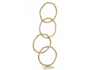 Socha 4 zlaté nepravidelné kruhy Gold circles - 32*10*73 cm