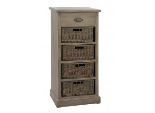 Dřevěná skříňka s proutěnými košíky Jerome - 49*33*107 cm