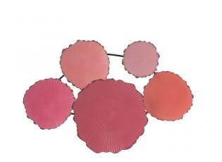 Růžová nástěnná dekorace vlnkovaná kola Ripples - 66*6*46 cm