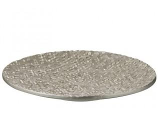 Stříbrná umělecká mísa se šestiúhelníky - Ø 45*5,5 cm