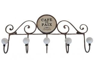 Hnědý kovový nástěnný věšák Cafe de Paix - 45*8*22cm