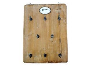 Hnědý dřevěný věšák na klíče  - 25*33cm