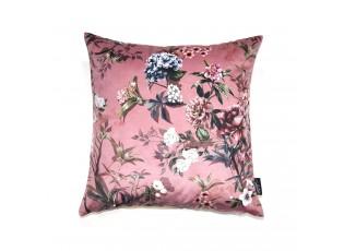 Růžový sametový polštář s květy Luisa roze- 45*45cm