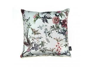 Zelený sametový polštář s květy Luisa teal - 45*45cm