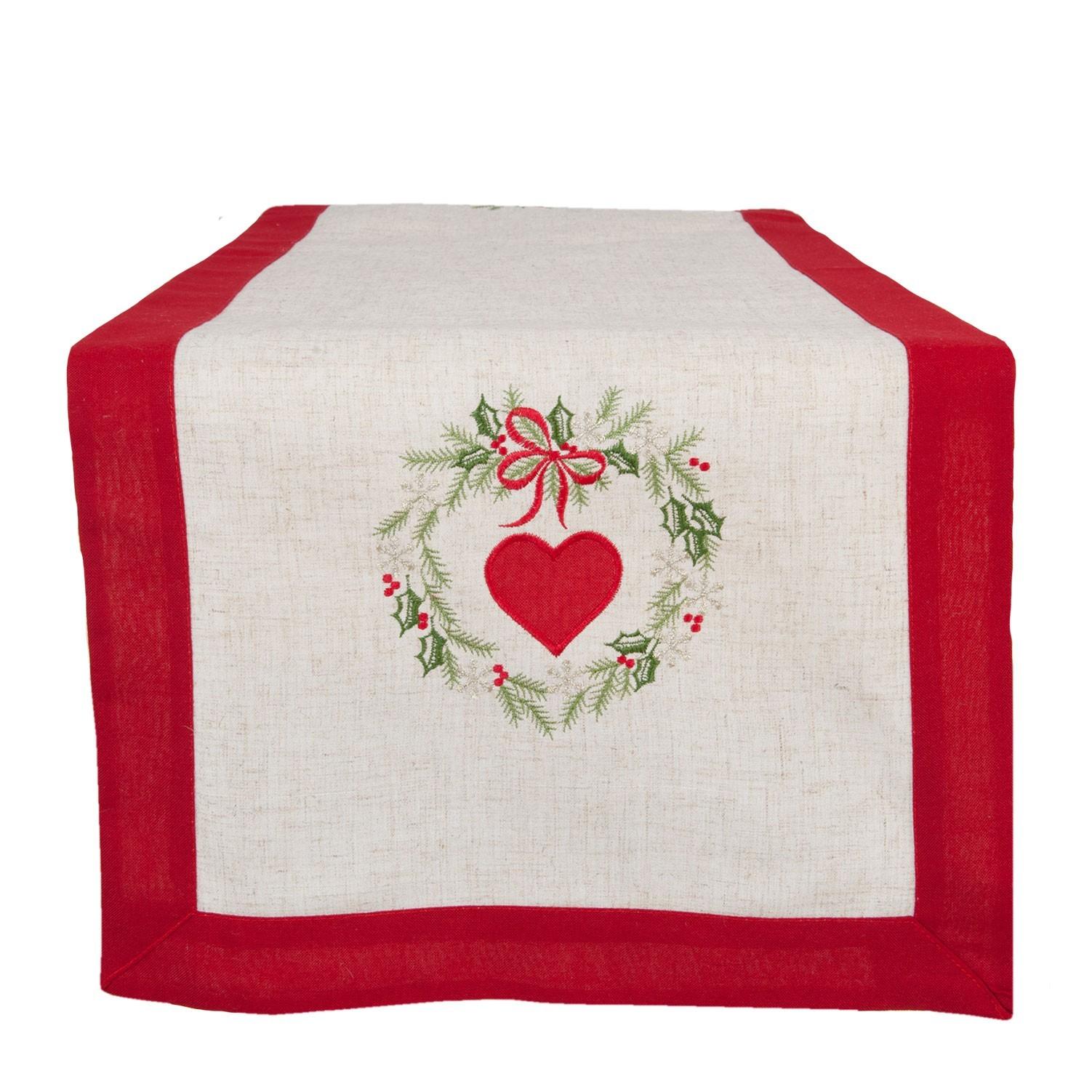 Běhoun na stůl vánoční srdce - 40*120 cm