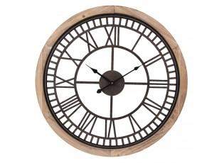 Nástěnné hodiny s kovovým ciferníkem a dřevěným rámem - Ø 60*4 cm / 1*AA
