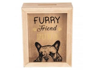 Dřevěná pokladnička Furry Friend - 16*7*20 cm