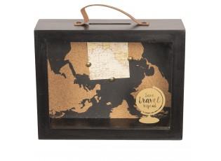 Černá dřevěná pokladnička s mapou a glóbusem - 23*8*18 cm