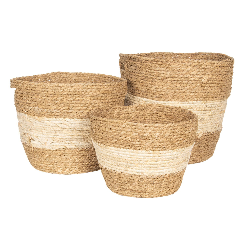 Set 3košíků z mořské trávy - Ø 38*33 / Ø 33*28 / Ø 27*23 cm