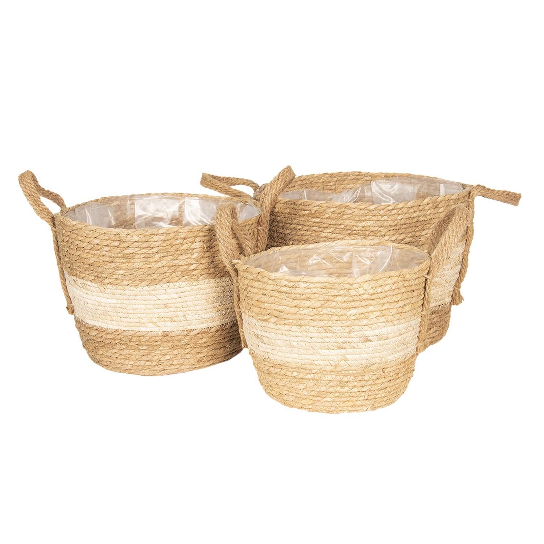 Set 3košíků / květináčů z mořské trávy - Ø 33*26 / Ø 29*22 / Ø 24*19 cm