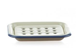 Krémová smaltovaná mýdlenka s modrou linkou - 13*10cm
