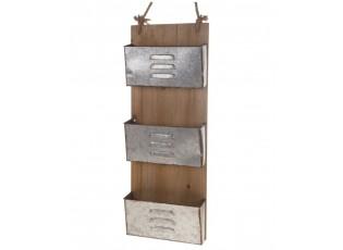 Dřevěná závěsná polička s plechovými boxy - 31,5*82,5 cm