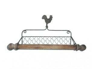 Nástěnný držák na kuchyňské utěrky s kohoutem - 40*13*19 cm