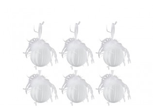 Bílé ozdoby s peříčky - 6ks - Ø 8 cm