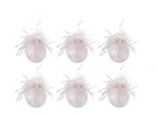 Růžové ozdoby s peříčky - 6ks - Ø 8 cm