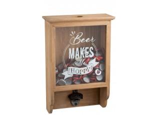Nástěnná dřevěná skříňka na zátky s otvírákem - 25*10*37cm