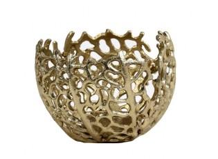 Zlatý antik kovový svícen na čajovou svíčku Sabela - Ø 12*10cm