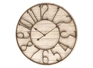 Dřevěné hodiny s kovovým ciferníkem - Ø 72*7 cm / 2*AA