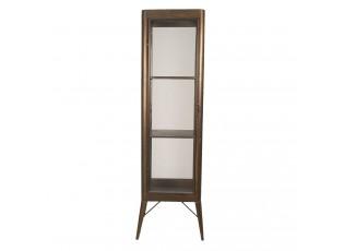 Hnědo-bronzová kovová retro skříň/ vitrína - 50*50*170 cm