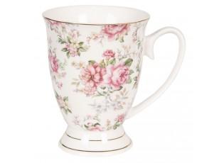 Bílý květovaný hrneček Garden IIII - 11*8*10 cm / 0,3L