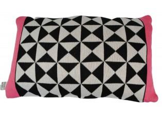 Černo-bílo- jahodový polštář Pyramid strawberry - 30*50cm
