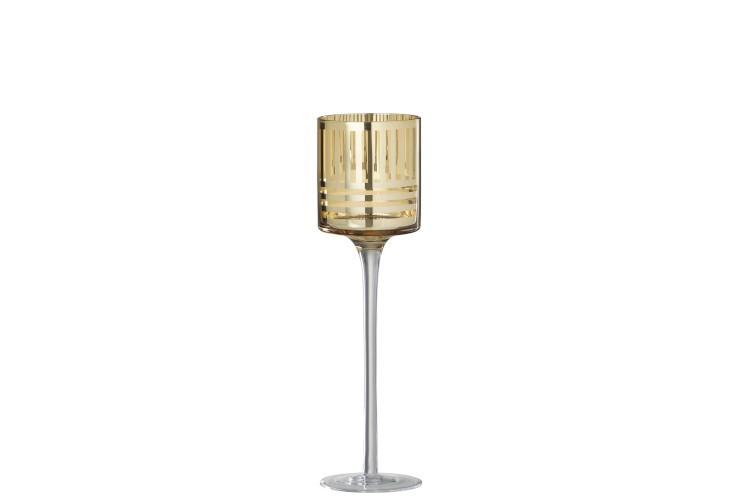 Zlatý skleněný svícen na noze - Ø 7*25 cm