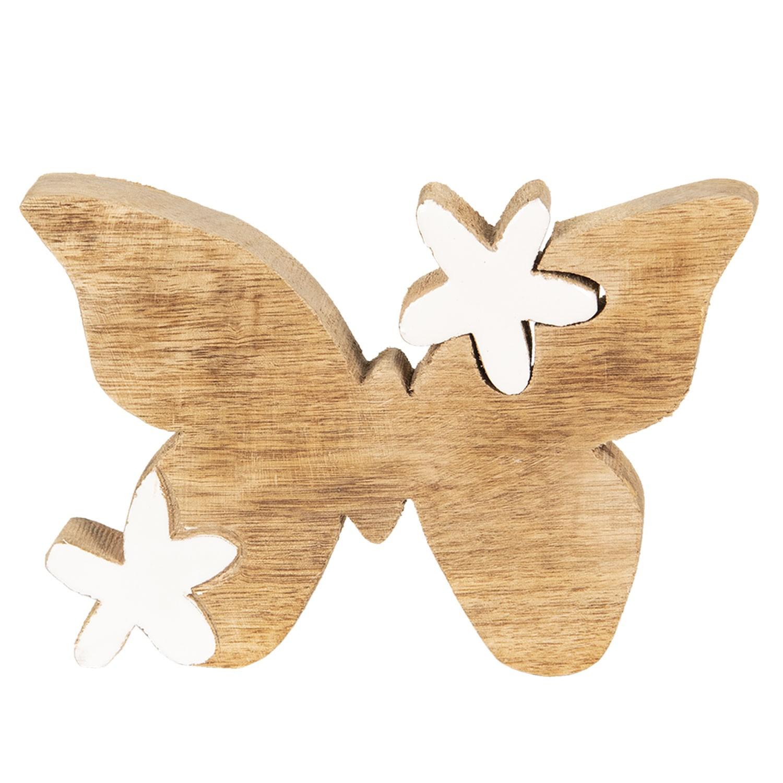 Clayre & Eef Dekorace ze dřeva Motýl s květinami - 14*10*2 cm