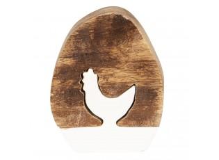 Dřevěná velikonoční dekorace Vejce se slepičkou - 10*8*2 cm
