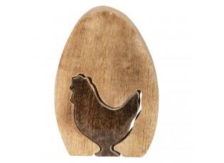Dřevěné dekorační vejce s motivem slepičky - 12*8*2 cm