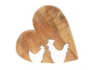 Velikonoční dekorace ze dřeva Srdce s kohoutky - 16*15*2 cm