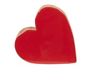 Dřevěné srdce červené - 19 * 18 * 2 cm