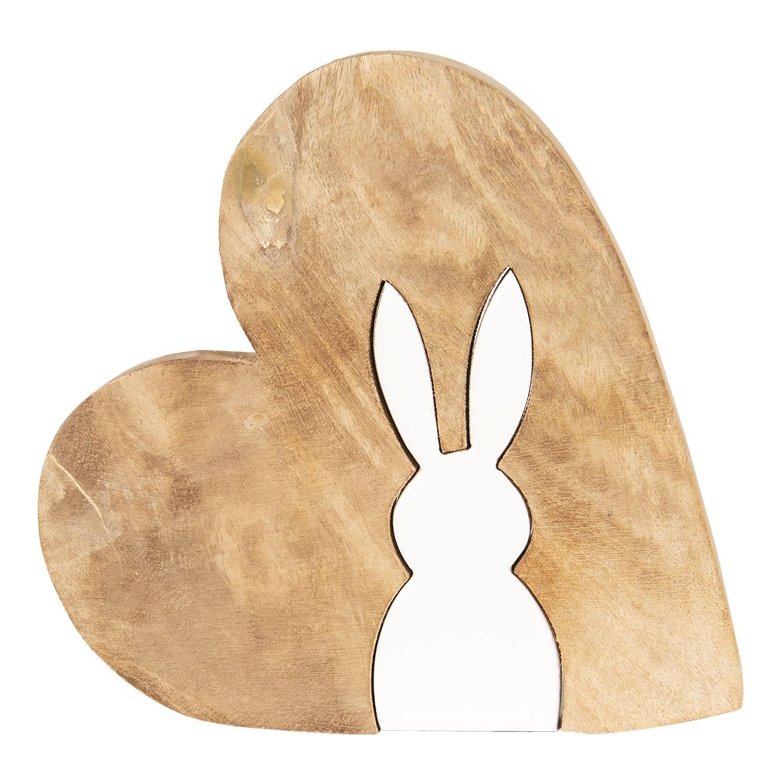 Dřevěná dekorace srdce s motivem zajíce - 23*22*2 cm
