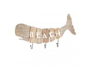Dřevěný věšák velryba Beach - 58*5*27 cm