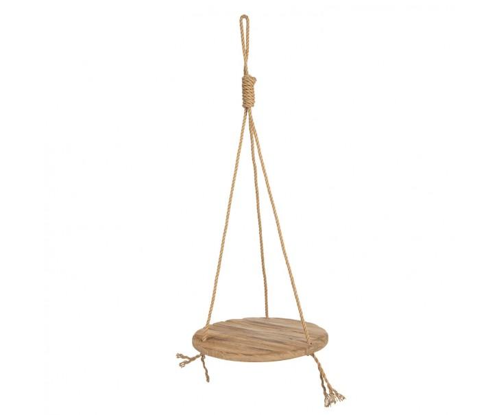 Závěsná dřevěná police na laně - Ø 40*100 cm