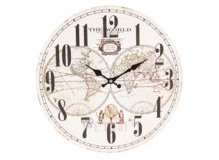 Vintage nástěnné hodiny The World - Ø 34*3 cm / 1*AA