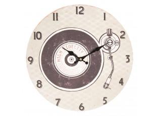 Vintage nástěnné hodiny s gramofonovou deskou - Ø 34*3 cm / 1*AA