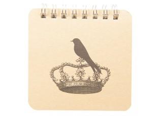 Zápisníček s kroužkovou vazbou a ptáčkem s korunou - 9*9*1 cm (48 stran)