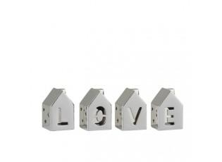 Set 4 stříbrných domečků s nápisem Love - 7*7*11 cm