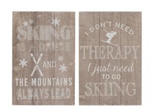 Dvě dřevěné cedule Skiing - 40*60cm