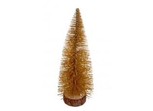 Dekorační zlatý vánoční stromeček - 15 cm