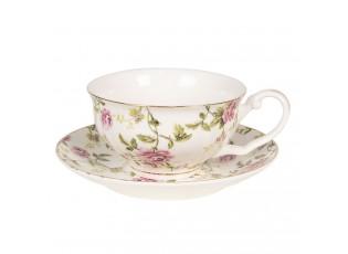 Bílý šálek s podšálkem s lístky a květy - Ø 13*2 / 12*9*5 cm