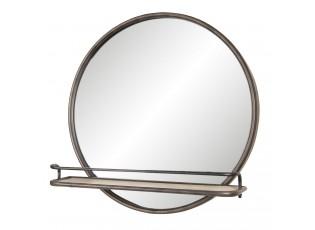 Nástěnné kulaté zrcadlo s poličkou - 60*11*60 cm