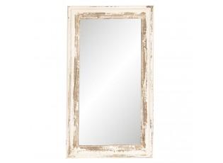 Nástěnné zrcadlo v bílém rámu s patinou - 42*3*73 cm