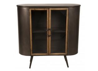 Dřevěný vintage kabinet s prosklenými dvířky Veillantif- 101*43*91 cm